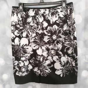Ann Taylor  Black & White Floral Skirt